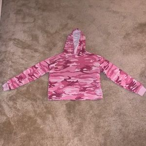 Pink camo striped crop top hoodie